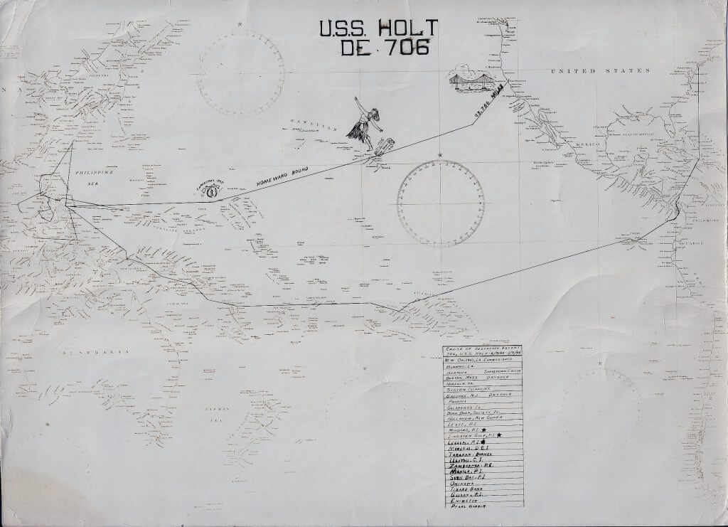 Map of USS HOLT route