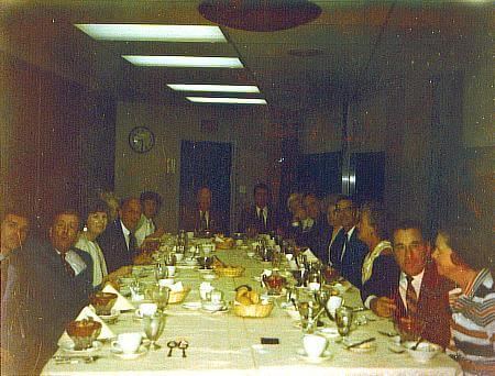 L to R: ?, Hugh Smith, Bayard Stout, Don Garrity, ?, B.B. Anderson, Bud McKenna, Arch West